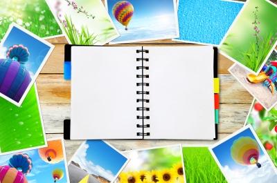 bloc de notas y fotos