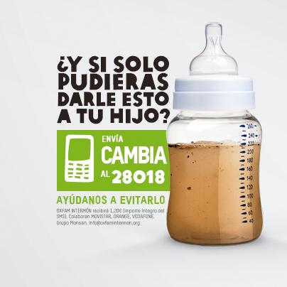 Oxfam Intermón anunciando biberones