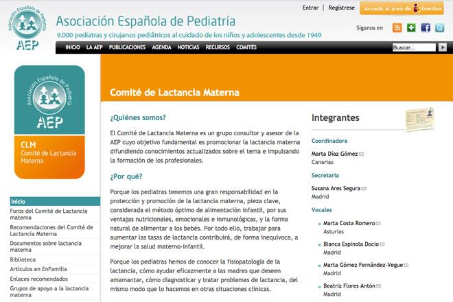 webs sobre lactancia materna: Comité Lactancia Materna de la AEP