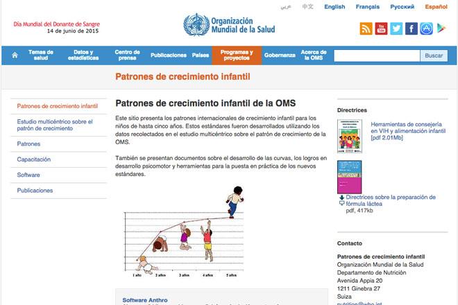webs sobre lactancia materna: Patrones de Crecimiento de la OMS