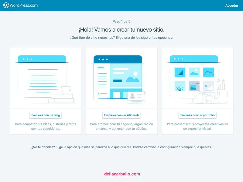 Registrarse en sin crear una web delia Crear website