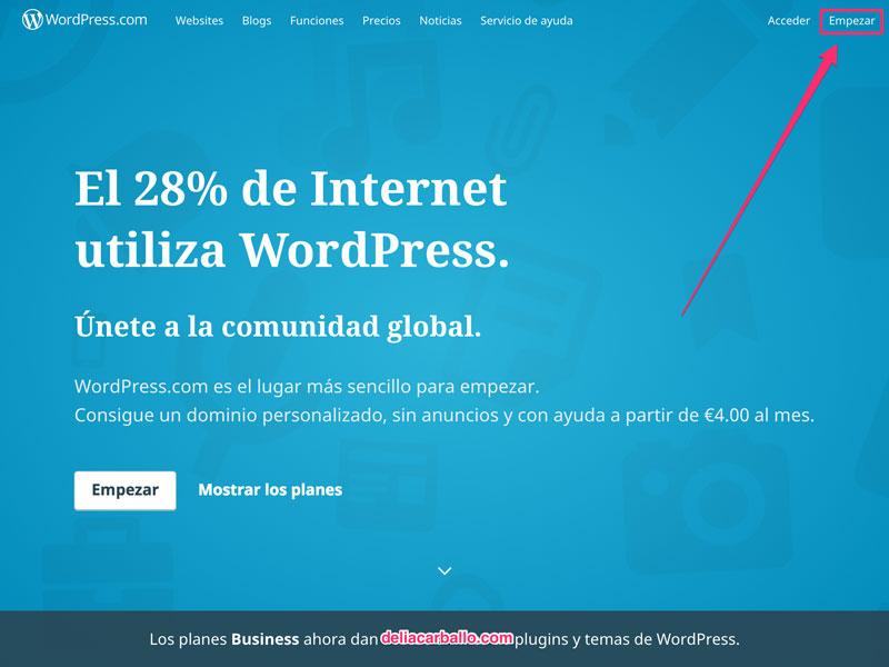 captura de pantalla sobre portada wordpress.com