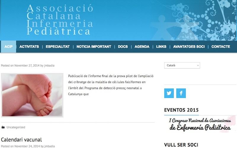 Captura Web Asociación Catalana de Enfermería Pediátrica